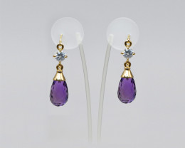Amethyst Briolette & Zircon Drop Earrings