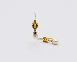 Citrine & Baroque Pearl Drop Earrings