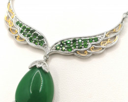 Jade, Chrome Diopside and Zircon Necklace 20.75 TCW