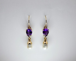 Amethyst & Baroque Pearl Drop Earrings