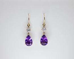 Amethyst & Zircon Drop Earrings