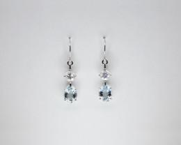 Aquamarine & Zircon Drop Earrings