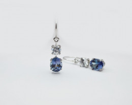 Tanzanite & Zircon Drop Earrings