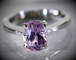 Pink Kunzite 3.49ct Solid 18K White Gold Ring
