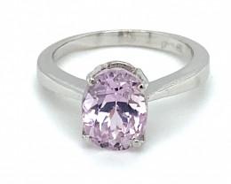 Pink Kunzite 3.49ct Solid 18K White Gold Ring