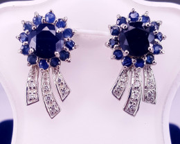 Gorgoues Natural Sapphire with CZ Ear Studs.