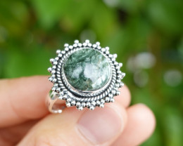 6.39g - 925 Sterling Silver Rings with Natural Stone / JW63