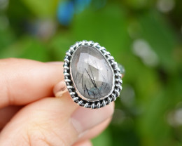 5.33g - 925 Sterling Silver Rings with Natural Stone / JW67