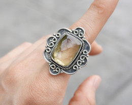11.56g - 925 Sterling Silver Rings with Natural Stone / JW84