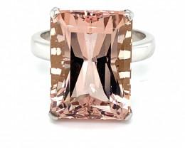 Morganite 16.20ct Solid 18K White Gold Ring