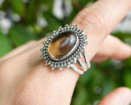 8.58g - 925 Sterling Silver Rings with Natural Stone / JW99