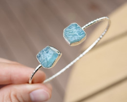 10.59g - 925 Sterling Silver Bracelet with Natural Stone / JW100