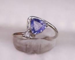 Natural Tanzanite and White sapphire Ring
