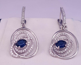 Natural Sapphire Earring with CZ.