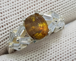 Natural Fire Sphene 19.00 Carats 925 Starling Silver CZ Ring N90