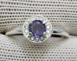 Natural Kashmir Sapphire 10.40 Carats 925 Starling Silver CZ Ring N91