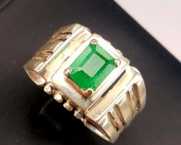 Gents Natural Emerald Ring