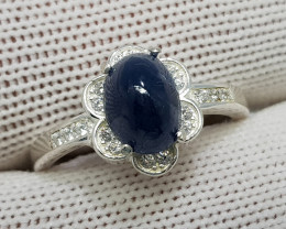 Natural Blue Sapphire 19.90 Carats 925 Starling Silver CZ Ring I90