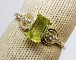 Natural Green Tourmaline CZ Ring 925 Sterling Silver (SEPIS)