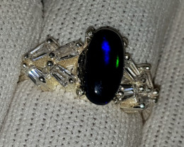 Natural Black Fire Opal CZ Ring 925 Sterling Silver (SEPIS)