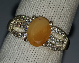 Natural Translucent Fire Opal Ring 925 Sterling Silver