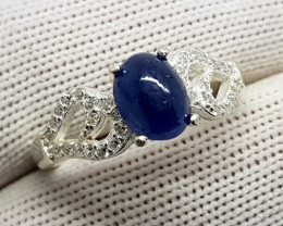 Natural Cabochon Blue Sapphire Ring 925 Sterling Silver (SEPIS)