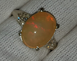 Natural Fire Or Tangerine Opal CZ Ring 935 Sterling Silver