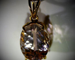 Morganite 6.13ct Solid 22K Yellow Gold Pendant