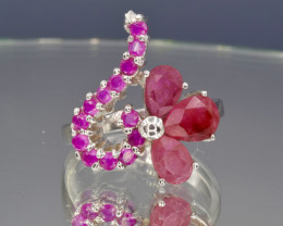 Natural Ruby from Burma and silver ring
