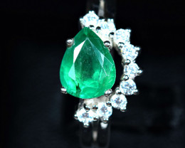18.10Carats Natural precious emerald ,CZ 925 Silver ring