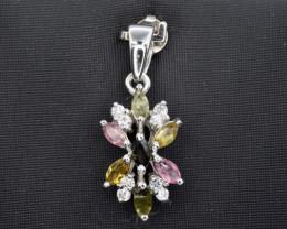 Natural Tourmaline and 925 Silver Pendant, Elegant Design