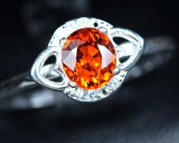 8.65Carats Carats Natural top color spessertite garnet 925 Silver ring
