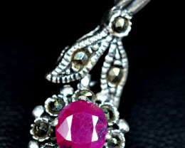 13.44Carats Natural top color afghan Ruby 925 Silver Pendant