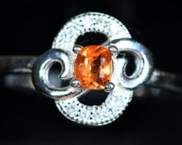 14Carats Natural top Rare Triplite ,CZ 925 Silver Ring
