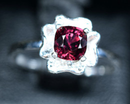 Natural top Burma Rich Purple Spinel  ,CZ 925 Silver Ring