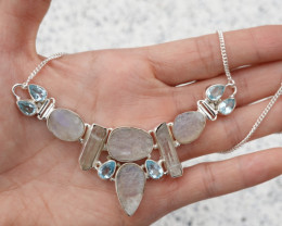 26.96g - 925 Sterling Silver Necklace with Natural Stone / JW110