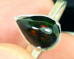 9.50 Carats multifire black opal 925 Silver Ring, ring size 7.