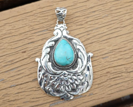 15.76g - 925 Sterling Silver Pendents with Natural Stone / JW146
