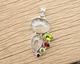 11.53g - 925 Sterling Silver Pendents with Natural Stone / JW150