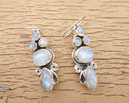 9.06g - 925 Sterling Silver Earrings with Natural Stone / JW164