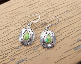 4.79g - 925 Sterling Silver Earrings with Natural Stone / JW165