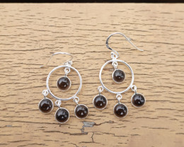 4.41g - 925 Sterling Silver Earrings with Natural Stone / JW167