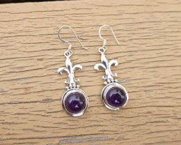 6.56g - 925 Sterling Silver Earrings with Natural Stone / JW168