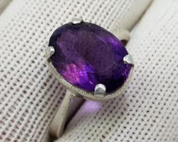 Natural Purple Amethyst 16.80 Carats 925 Starling Silver Ring