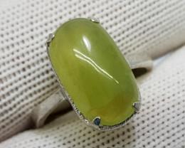 Natural Green Grossular 16.20 Carats 925 Starling Silver Ring