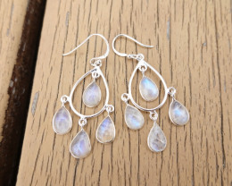 5.54g - 925 Sterling Silver Earrings with  MoonStone / JW172