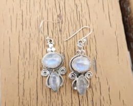 10.01g - 925 Sterling Silver Earrings with MoonStone / JW173