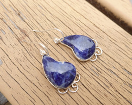 6.80g - 925 Sterling Silver Earrings with Sodalite Stone / JW174