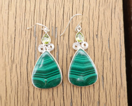12.16g - 925 Sterling Silver Earrings with Malachite Stone / JW178