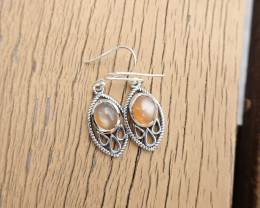 5.39g - 925 Sterling Silver Earrings with Natural Stone / JW188